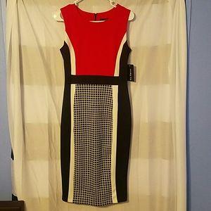 En Focus red/black/white dress
